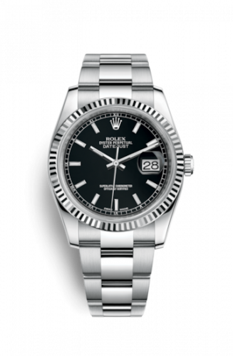 Rolex 116234-0091 : Datejust 36 Stainless Steel Fluted / Oyster / Black