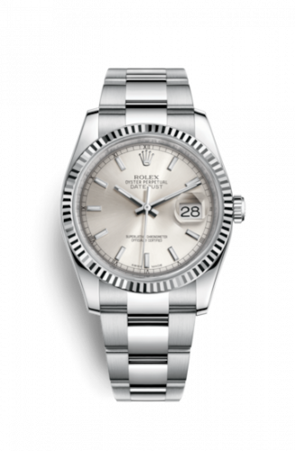 Rolex 116234-0093 : Datejust 36 Stainless Steel Fluted / Oyster / Silver