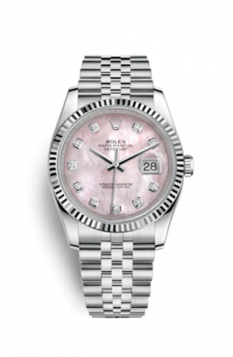 Rolex 116234-0104 : Datejust 36 Stainless Steel Fluted / Jubilee / Pink MOP