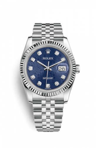 Rolex 116234-0110 : Datejust 36 Stainless Steel Fluted / Jubilee / Blue Computer