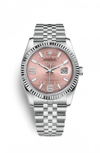 Rolex 116234-0113 : Datejust 36 Stainless Steel Fluted / Jubilee / Pink Wave