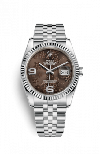 Rolex 116234-0116 : Datejust 36 Stainless Steel Fluted / Jubilee / Chocolate Floral