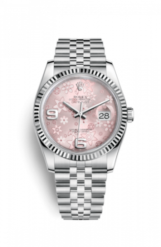 Rolex 116234-0117 : Datejust 36 Stainless Steel Fluted / Jubilee / Pink Floral