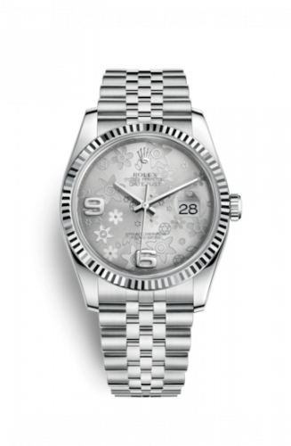Rolex 116234-0118 : Datejust 36 Stainless Steel Fluted / Jubilee / Silver Floral