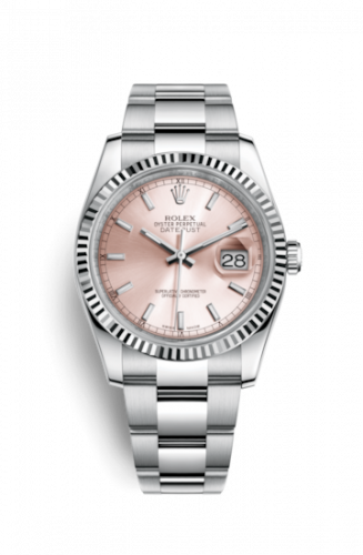 Rolex 116234-0120 : Datejust 36 Stainless Steel Fluted / Oyster / Pink