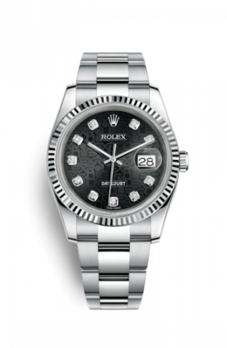 Rolex 116234-0122 : Datejust 36 Stainless Steel Fluted / Oyster / Black Computer