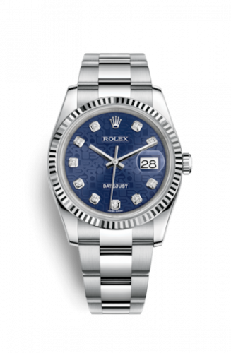Rolex 116234-0123 : Datejust 36 Stainless Steel Fluted / Oyster  / Blue Computer