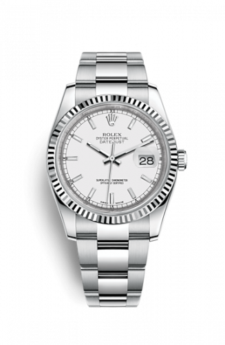 Rolex 116234-0127 : Datejust 36 Stainless Steel Fluted / Oyster / White