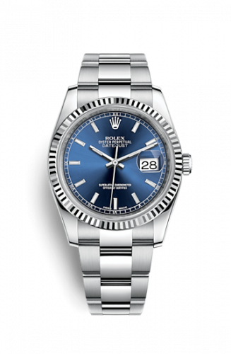 Rolex 116234-0128 : Datejust 36 Stainless Steel Fluted / Oyster / Blue