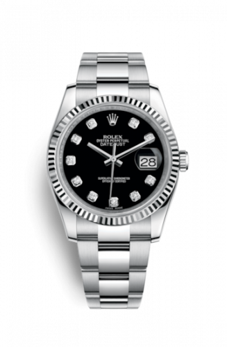 Rolex 116234-0132 : Datejust 36 Stainless Steel Fluted / Oyster / Black Diamond