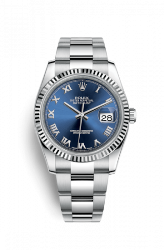 Rolex 116234-0133 : Datejust 36 Stainless Steel Fluted / Oyster / Blue Roman