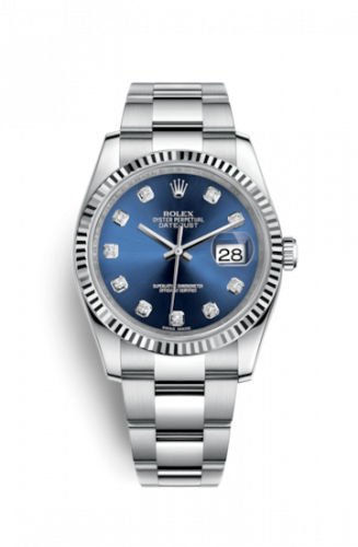 Rolex 116234-0134 : Datejust 36 Stainless Steel Fluted / Oyster / Blue Diamond
