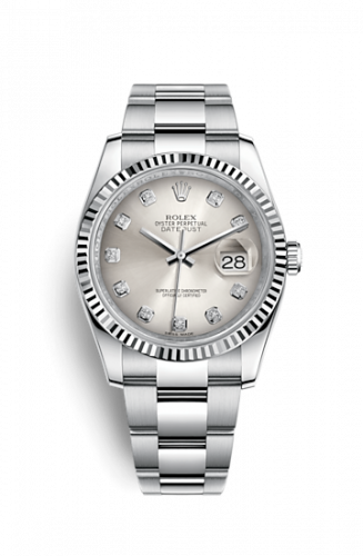 Rolex 116234-0136 : Datejust 36 Stainless Steel Fluted / Oyster / Silver Diamond