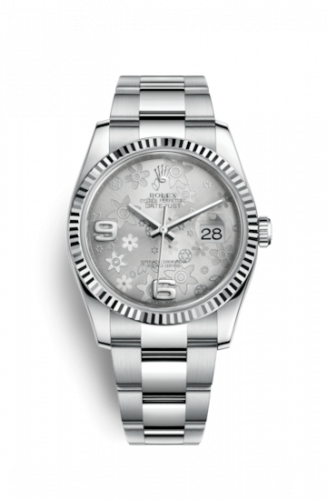 Rolex 116234-0143 : Datejust 36 Stainless Steel Fluted / Oyster / Silver Floral