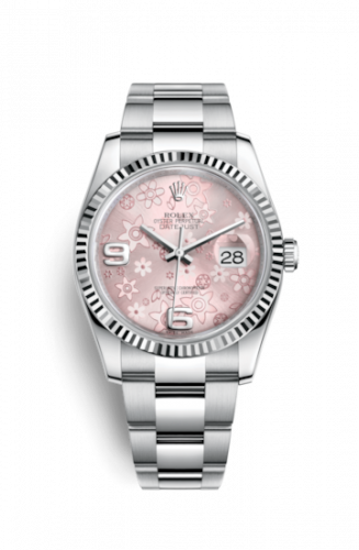 Rolex 116234-0144 : Datejust 36 Stainless Steel Fluted / Oyster / Pink Floral