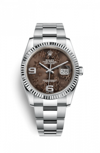 Rolex 116234-0145 : Datejust 36 Stainless Steel Fluted / Oyster / Chocolate Floral