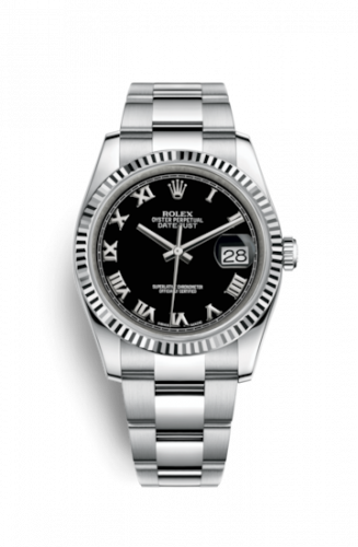Rolex 116234-0146 : Datejust 36 Stainless Steel Fluted / Oyster / Black Roman