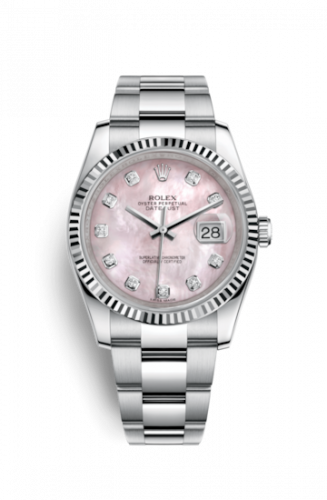 Rolex 116234-0150 : Datejust 36 Stainless Steel Fluted / Oyster / Pink MOP