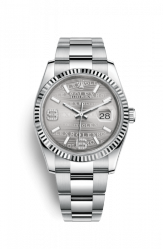 Rolex 116234-0153 : Datejust 36 Stainless Steel Fluted / Oyster / Rhodium Wave