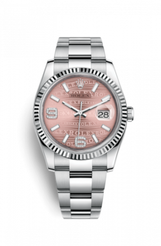 Rolex 116234-0154 : Datejust 36 Stainless Steel Fluted / Oyster / Pink Wave