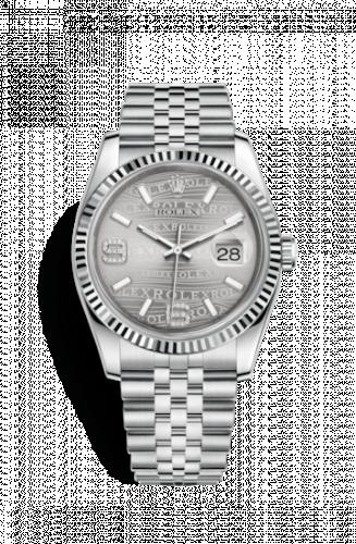 Rolex 116234-0159 : Datejust 36 Stainless Steel Fluted / Jubilee / Rhodium Wave