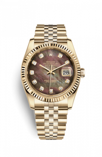 Rolex 116238-0057 : Datejust 36 Yellow Gold Fluted / Jubilee / Black MOP