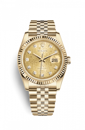 Rolex 116238-0058 : Datejust 36 Yellow Gold Fluted / Jubilee / Champagne Computer