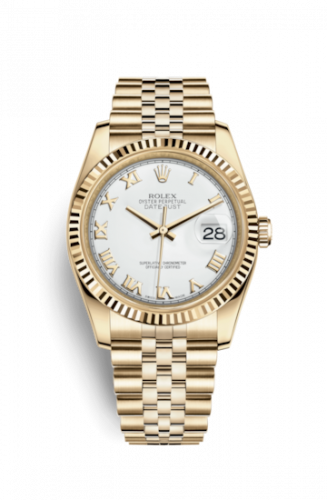 Rolex 116238-0060 : Datejust 36 Yellow Gold Fluted / Jubilee / White Roman