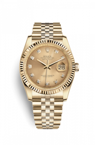 Rolex 116238-0061 : Datejust 36 Yellow Gold Fluted / Jubilee / Champagne Diamonds