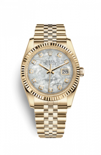 Rolex 116238-0062 : Datejust 36 Yellow Gold Fluted / Jubilee / MOP