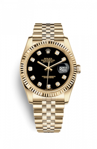 Rolex 116238-0067 : Datejust 36 Yellow Gold Fluted / Jubilee / Black Diamonds
