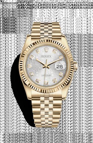 Rolex 116238-0069 : Datejust 36 Yellow Gold Fluted / Jubilee / Rhodium Computer