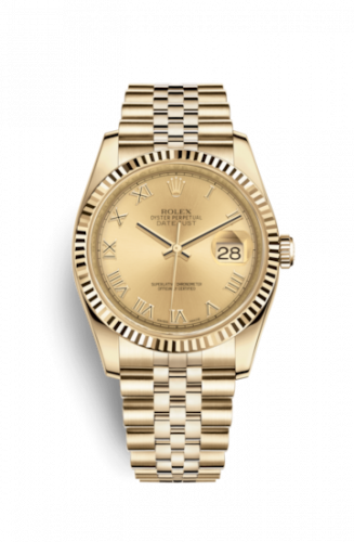 Rolex 116238-0070 : Datejust 36 Yellow Gold Fluted / Jubilee / Champagne Roman