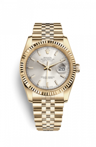 Rolex 116238-0071 : Datejust 36 Yellow Gold Fluted / Jubilee / Silver