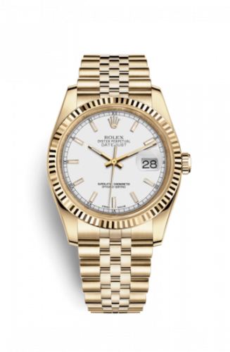 Rolex 116238-0072 : Datejust 36 Yellow Gold Fluted / Jubilee / White