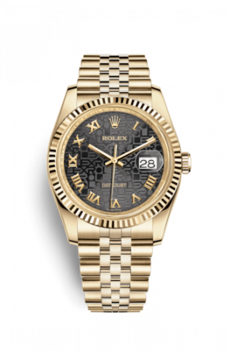 Rolex 116238-0073 : Datejust 36 Yellow Gold Fluted / Jubilee / Black Computer Roman