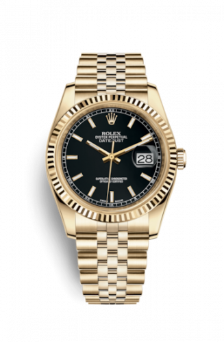 Rolex 116238-0074 : Datejust 36 Yellow Gold Fluted / Jubilee / Silver
