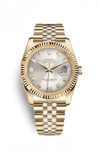 Rolex 116238-0075 : Datejust 36 Yellow Gold Fluted / Jubilee / Silver Diamonds