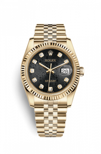 Rolex 116238-0078 : Datejust 36 Yellow Gold Fluted / Jubilee / Black  Computer