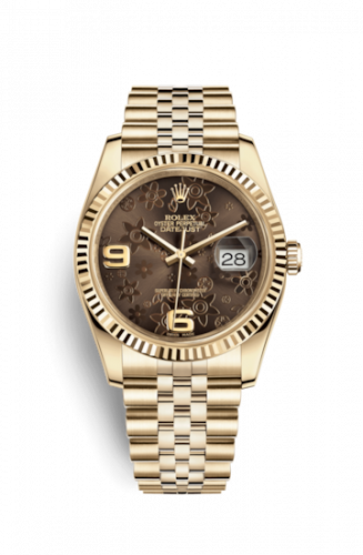 Rolex 116238-0081 : Datejust 36 Yellow Gold Fluted / Jubilee / Chocolate Floral