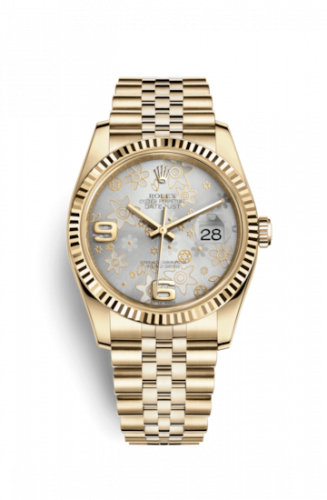 Rolex 116238-0082 : Datejust 36 Yellow Gold Fluted / Jubilee / Silver Floral
