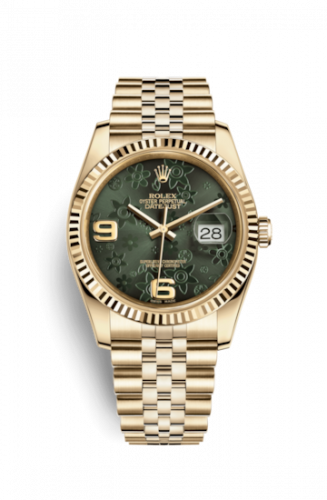 Rolex 116238-0085 : Datejust 36 Yellow Gold Fluted / Jubilee / Green Floral