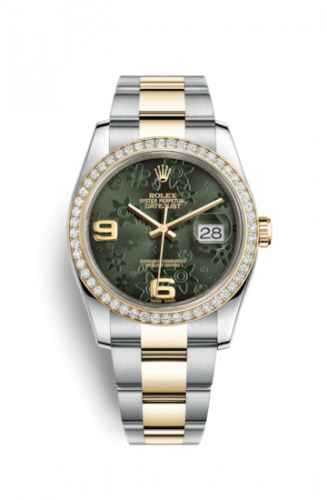 Rolex 116243-0006 : Datejust 36 Rolesor Yellow Diamond / Oyster / Green Floral