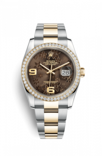 Rolex 116243-0007 : Datejust 36 Rolesor Yellow Diamond / Oyster / Bronze Floral