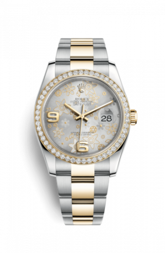 Rolex 116243-0008 : Datejust 36 Rolesor Yellow Diamond / Oyster / Silver Floral