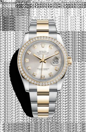 Rolex 116243-0012 : Datejust 36 Rolesor Yellow Diamond / Oyster / Silver Diamond
