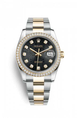 Rolex 116243-0024 : Datejust 36 Rolesor Yellow Diamond / Oyster / Black Computer