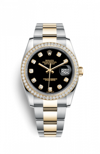 Rolex 116243-0025 : Datejust 36 Rolesor Yellow Diamond / Oyster / Black Diamond