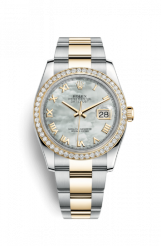 Rolex 116243-0026 : Datejust 36 Rolesor Yellow Diamond / Oyster / MOP Roman
