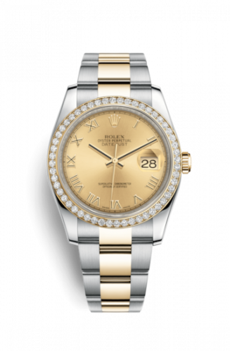 Rolex 116243-0028 : Datejust 36 Rolesor Yellow Diamond / Oyster / Champagne Roman